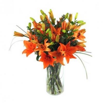 Orange Lily Vase