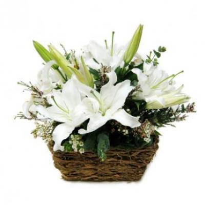 White Lily Basket