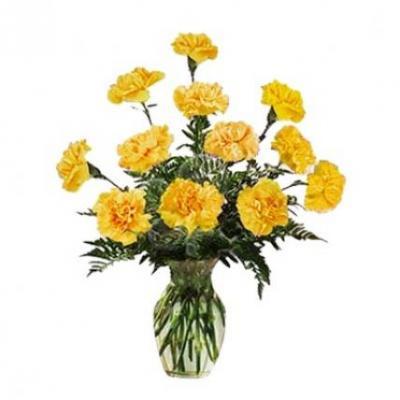 Yellow Carnation Vase