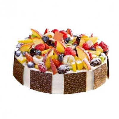 Exotic Fresh Fruit Chocolate Cake