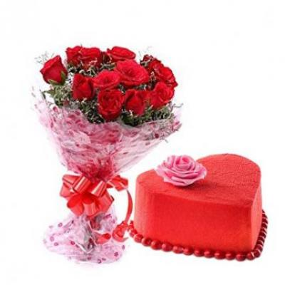 Roses With Heart Shape Red Velvet Cake