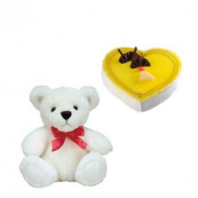 Teddy With Heart Shape Pineapple Cake