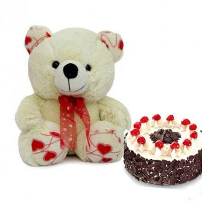 Teddy With Black Forest Cake