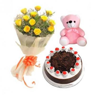 Yellow Roses, Cake With Teddy
