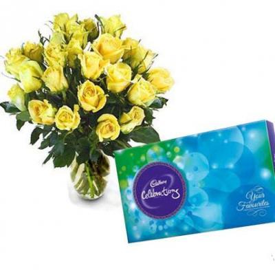 Roses Vase With Cadbury Celebration