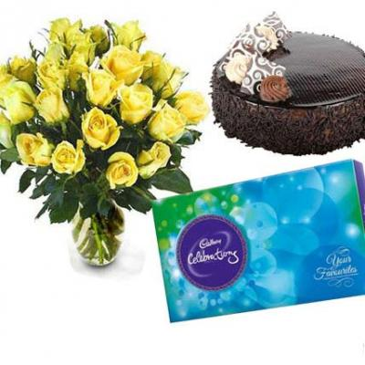 Yellow Roses, Chocolate With Cake