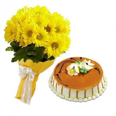 Yellow Gerbera With Butter Scotch Cake