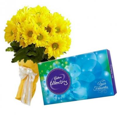 Yellow Gerbera With Cadbury Celebration