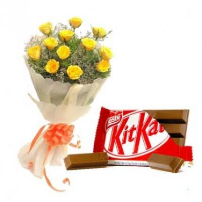 Yellow Roses With Kitkat