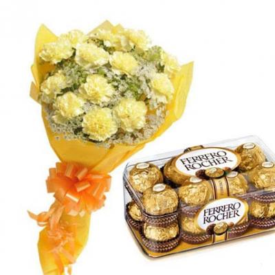 Yellow Carnations With Ferrero Rocher