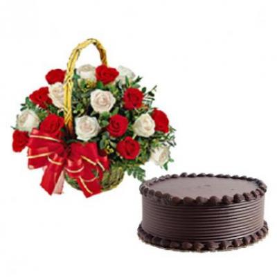 Red & White Roses Basket With Cake