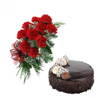 Carnations With Chocolate Cake
