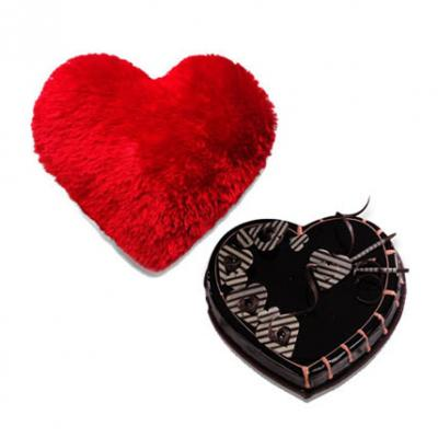 Heart Cushion With Heart Shape Cake