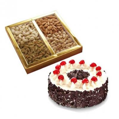 Dry Fruits With Black Forest Cake