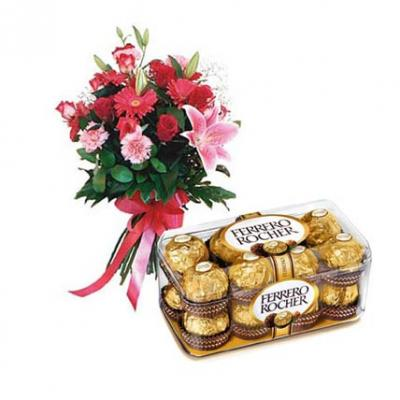 Mix Flowers With Ferrero Rocher