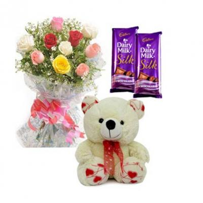Mix Roses, Teddy With Chocolates