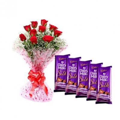Red Roses With Dairy Milk Silk