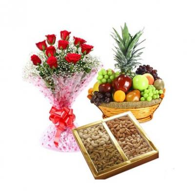 Roses, Dry Fruits With Fresh Fruits