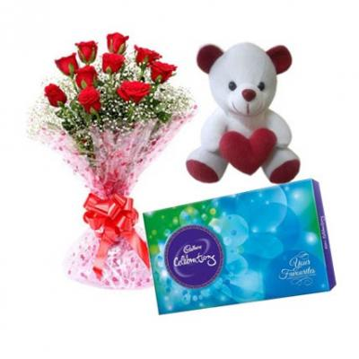 Roses, Teddy With Cadbury Celebration
