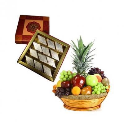 Fresh Fruits With Kaju Burfi