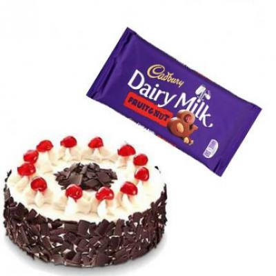 Black Forest Cake With Cadbury Dairy Milk Fruit & Nut