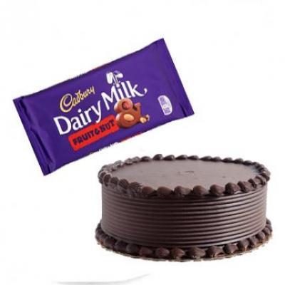 Chocolate Cake With Cadbury Dairy Milk Fruit & Nut