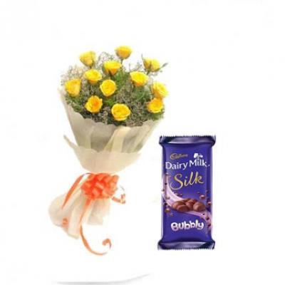 Yellow Roses With Cadbury Silk Bubbly