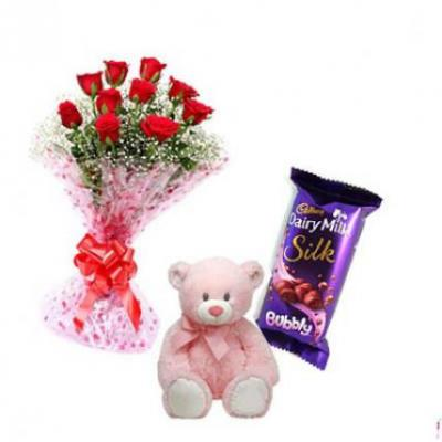 Roses, Teddy With Bubbly