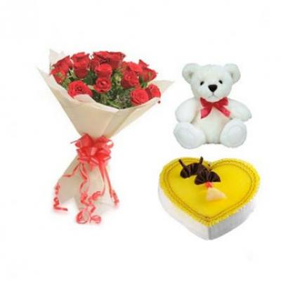 Roses, Teddy With Heart Shape Pineapple Cake