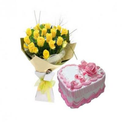 Yellow Roses With Heart Shape Strawberry Cake