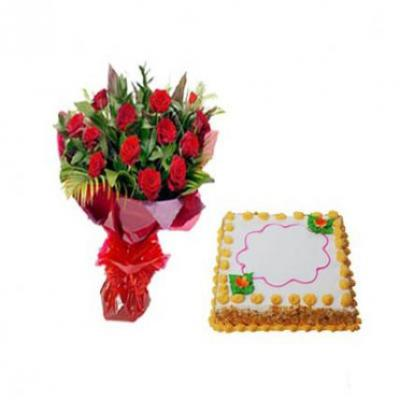 Roses With Butter Scotch Cake Square