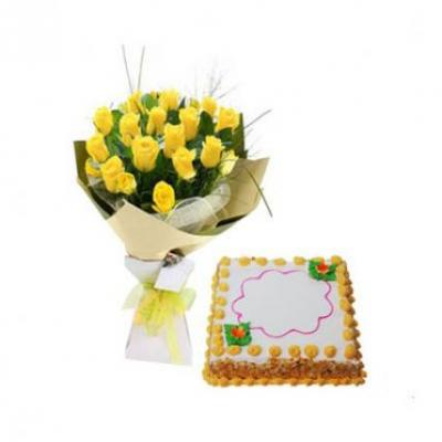 Yellow Roses With Butter Scotch Cake Square