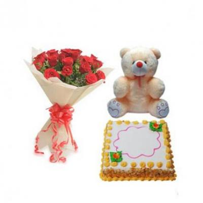 Roses, Teddy With Butter Scotch Cake Square