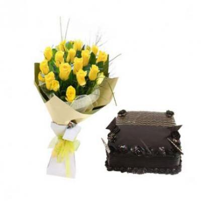 Yellow Roses With Chocolate Truffle Cake Square