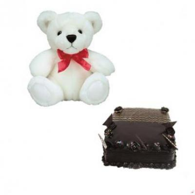 Teddy With Chocolate Truffle Cake Square