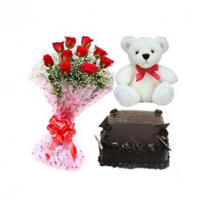 Roses, Teddy With Chocolate Truffle Cake Square