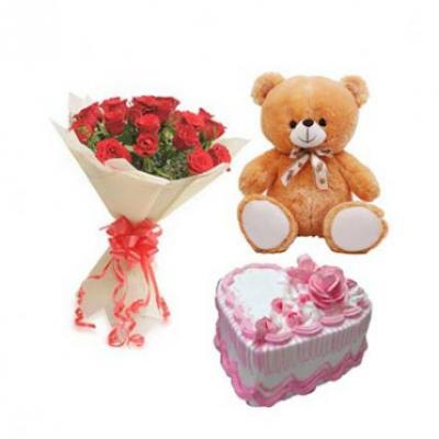 Roses, Teddy With Heart Shape Strawberry Cake