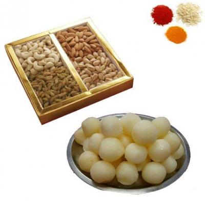 Bhai Dooj Tikka With Rasgulla, Dry Fruits