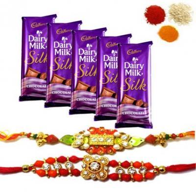 Rakhi With Dairy Milk Silk Chocolates