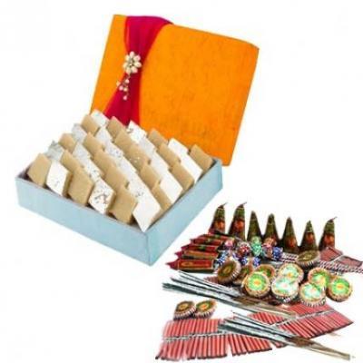 Kaju Katli With Crackers