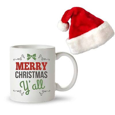 Christmas Santa Cap & Merry Christmas Photo Mug