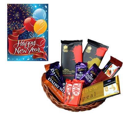 New Year Greeting With Chocolate Hamper