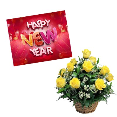 New Year Card With Bouquet