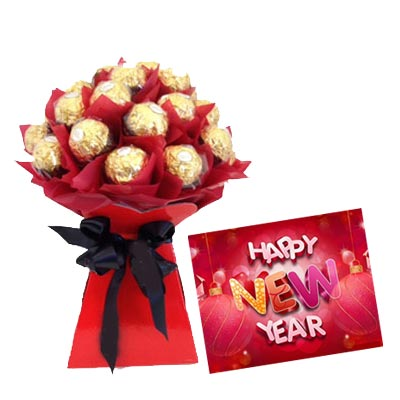 new year card with ferrero bouquet