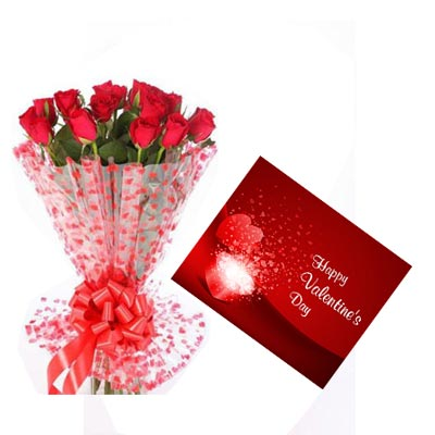 Red Roses With Valentine Greeting Card
