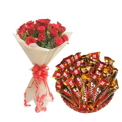 5 Star Chocolates Hamper With Roses