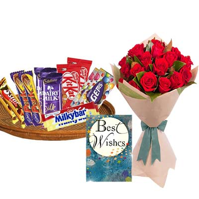 Mixed Chocolates Hamper With Card and Roses