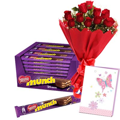 Munch Chocolates Hamper With Card and Roses
