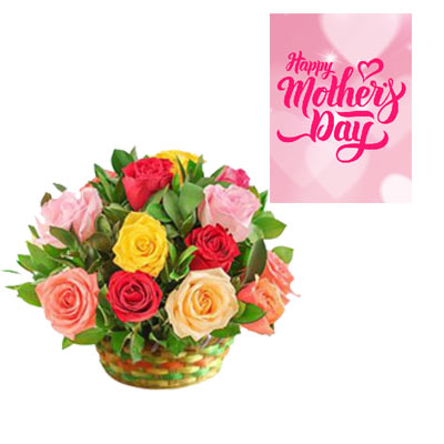 Mixed Roses Basket & Mothers Day Card
