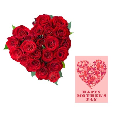 Red Roses Heart With Mothers Day Card